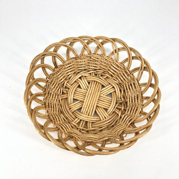 Boho Rattan Woven Circular Basket